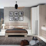 Dormitorio moderno de madera clara bicolor