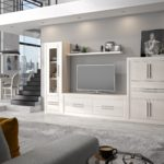 mueble salón moderno composición de color blanco decape